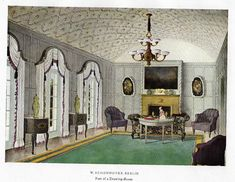 """Color Scheme Print - 1923 - """"""""BERLIN - PART OF A DINING ROOM"""""""" - Decorative Lithograph"""