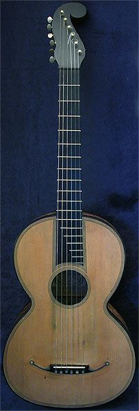 Early Musical Instruments, antique Romantic Guitar by Gennaro Fabricatore dated 1835