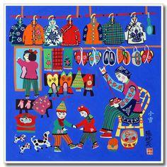 Chinese folk art, peasant painting, making shoes, kids, Chinese jackets Chinese Crafts, Chinese Art, Farmer Painting, Chinese Cartoon, Naive Art, Chinese Painting, Pretty Art, Tribal Art, Art Google