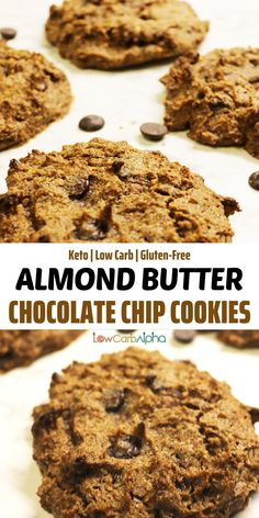 Easy and delicious almond butter keto cookies. Simple low carb recipe with chocolate chips #lowcarb #keto #cookies #lowcarbalpha Keto Friendly Desserts, Low Carb Desserts, Gluten Free Desserts, Low Carb Recipes, Delicious Desserts, Dessert Recipes, Healthy Recipes, Drink Recipes, Free Recipes