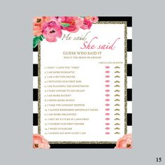 He Said She Said Bridal Shower Game Black and by Immanueldesign