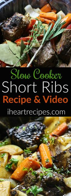 Nutritious Snack Tips For Equally Young Ones And Adults Easy Slow Cooker Short Ribs Recipe I Heart Recipes I Heart Recipes, Rib Recipes, Easy Dinner Recipes, Slow Cooker Recipes, Easy Meals, Cooking Recipes, Crockpot Recipes, Slow Cooking, Dinner Ideas