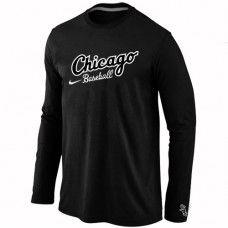 Wholesale Men Chicago White Sox Authentic Team Name Long Sleeve Black T-Shirt_Chicago White Sox T-Shirt