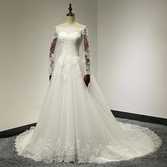 Boat Neck Lace Top A-Line Tulle Wedding Dress