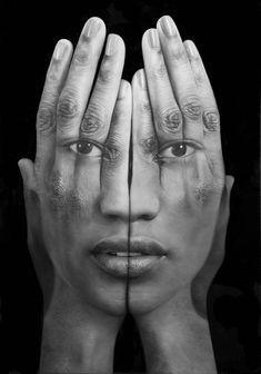 """Les portraits monochromes de l'artiste arménien Tigran Tsitoghdzyan, qui à travers ses séries """"Millenium"""" et """"Mirror"""" mélange surréalisme et hyperréalis"""