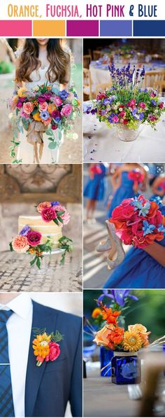 colorful orange,pink,purple and blue summer wedding colors