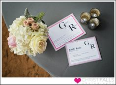 Charlotte wedding invitations by Bridal Flavors.  Charlotte wedding photographer Christi Falls Photography.  Florist: Springvine Design Planning: Aisle Do Events   Rentals: Creative Solutions