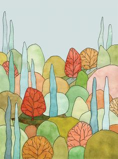 Lovely Landscape Art Print  print of watercolor by courtneyoquist
