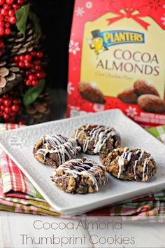 Cocoa Almond Thumbprint Cookies | Renee's Kitchen Adventures  Double cocoa goodness in a delicious almond thumbprint cookie