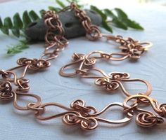 Hand forged copper swirl link necklace handmade metal_artistry  #ibhandmade  $29.00