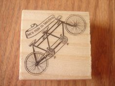 Let's Ride in Tandem Bicycle Rubber Stamp Paper Cards by MoonChi, $3.75