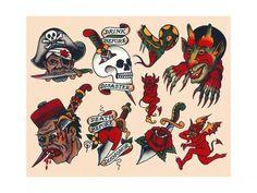Vintage Mermaid Tattoo, Vintage Tattoo Design, Tattoo Flash Sheet, Tattoo Flash Art, Flash Tattoos, Traditional Flash, Traditional Tattoo Flash, Sailor Jerry Tattoo Flash, Vintage Flash