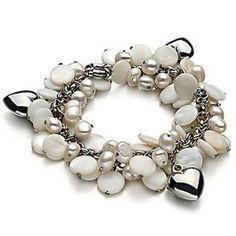 Wedding Gift:PearlsOnly Harmony - Pearl with Heart Charms White 5.0-5.5mm A Freshwater Cultured Pearl Bracelet