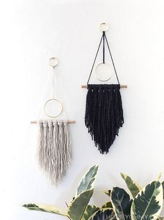 Modern yarn wall hanging - Homey Oh My