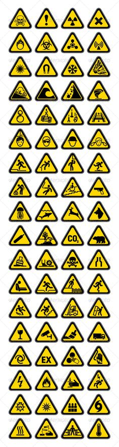 72 Hazard Warning Symbols, Labels Triangular - Vectors