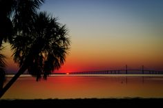 Sunrise over the Sunshine Skyway Bridge, Tampa bay, FL