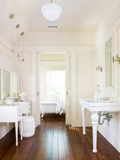 Crazy for Hardwood Floors! - Design Chic- love the all white bathroom - so fresh and clean