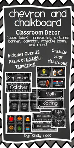 Chevron and Chalkboard Classroom Decor - Organize and decorate your classroom space with this awesome set!  Includes nameplates, calendar, schedule set, bin labels, and lots of EDITABLE templates!