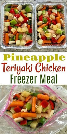Freezer Meals - Pineapple Teriyaki Chicken - One Hundred Dollars a Month - We all loved the Teriyaki Chicken freezer meal I made awhile back, so I decided to switch things up - Chicken Freezer Meals, Freezer Friendly Meals, Make Ahead Freezer Meals, Freezer Cooking, Healthy Crockpot Freezer Meals, Cooking Tips, Pioneer Woman Freezer Meals, Individual Freezer Meals, Crock Pot Dump Meals