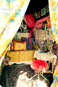 gypsy bohemian hippie interiors...OMG I just want to go sit in this room and talk to whatever hippie made this. I love her.