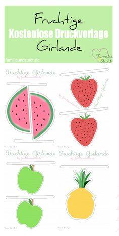 Fruchtige Girlande zum Ausdrucken, free printable fruits, Wimpelkette drucken