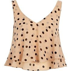 River Island Beige polka dot double layer V neck crop top (60 BRL) ❤ liked on Polyvore featuring tops, shirts, crop tops, tank tops, blusas, sale, polka dot crop top, polka dot top, summer crop tops and party tops