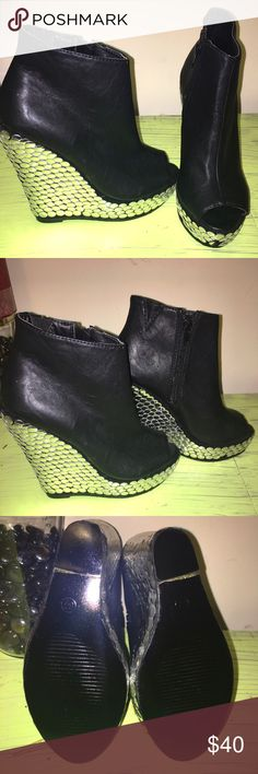 Black leather  studded booties Studded wedge booties. Size 5-1/2 never worn. Can't fit. Looks good with skinny jeans. redkiss Shoes Wedges