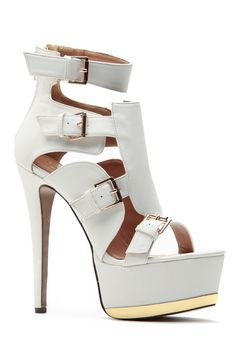 Buckle Me Up In Gold White Sky High Platform Heels @ Cicihot Heel Shoes online store sales:Stiletto Heel Shoes,High Heel Pumps,Womens High Heel Shoes,Prom Shoes,Summer Shoes,Spring Shoes,Spool Heel,Womens Dress Shoes