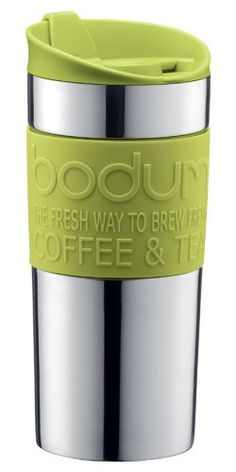 5f294e251 Bodum Vacuum Travel Mug, Stainless Steel with Lime Green Lid and Band,  Small,
