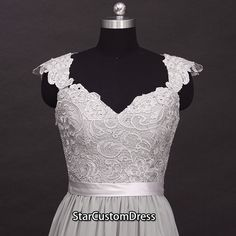 Long Prom Dress Silver Lace Chiffon Prom Dress by StarCustomDress