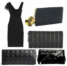 little black dress and a little black clutch