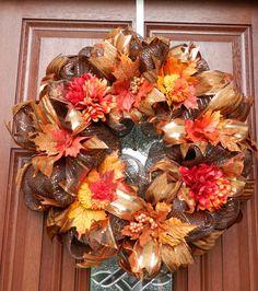 Fall Deco Mesh Wreath, Autumn Wreath, Harvest Wreath, Fall Decor, Harvest, Thanksgiving, Orange brown gold wreath
