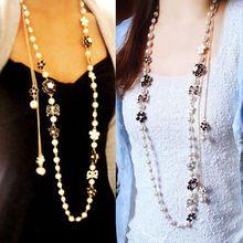 27d8b857c548 Camellia Acryl Parel Ketting Lange Collier Perle Sieraden Nieuwe Mode  Necklacse Voor Vrouwen 2016 Bijoux Femme
