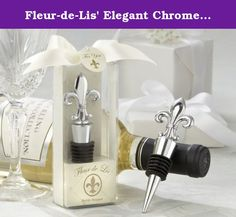 """Fleur-de-Lis' Elegant Chrome Bottle Stopper - Total 24 sets. Set of 24 A legendary symbol of elegance, nobility and grace, the fleur-de-lis has made its way to the top in Kate Aspen's equally legendary line of solid-chrome bottle stoppers, all with a notable weight and quality. From a casual dinner party to the grandest of weddings, the """"Fleur-de-Lis"""" Bottle Stopper is a favor befitting any occasion. Features and facts: •The fleur-de-lis is detailed on both sides of the chrome bottle…"""