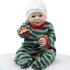 79.20$  Buy here - http://ali3jo.worldwells.pw/go.php?t=32747341989 - Smiling Reborn Babies 20 Inch 50 CM Realistic Boy Baby Doll Full Silicone Vinyl Newborn Dolls Toy Without Hair Kids Playmate