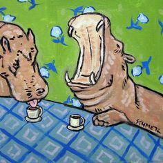 11x14 art giclee print gift for skateboarder JSCHMETZ HIPPO hippopotamus