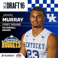 Jamal Murray goes No. 7 to the Denver Nuggets. He's the 11th Wildcat to go in the top 10 in the John Calipari era.  #nbadraft2016
