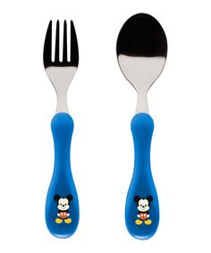 Look what I found on #zulily! Big Face Mickey Fork & Spoon Set #zulilyfinds