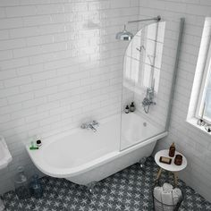 Appleby 1700 Roll Top Shower Tub with Screen + Chrome Leg Set Steam Showers Bathroom, Bathroom Faucets, Small Bathroom, Bathroom Ideas, Family Bathroom, Bathroom Colors, Bathroom Lino, Glass Showers, Bathroom Layout