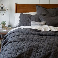 Belgian Linen Quilt, Twin, Slate from West Elm