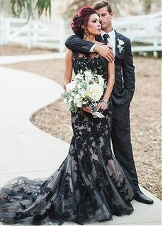 f5a5fc16757c Mermaid Formal Dress With Appliques. Black Wedding DressesColored ...