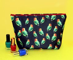 Your place to buy and sell all things handmade Large Toiletry Bag, Valentine Day Gifts, Valentines, Parrot Feather, Feather Design, Makeup Bags, Wash Bags, Cosmetic Case, Love Birds