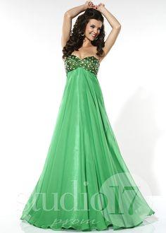 Studio 17 12395 - Green Strapless Beaded Chiffon Prom Dresses Online #thepromdresses