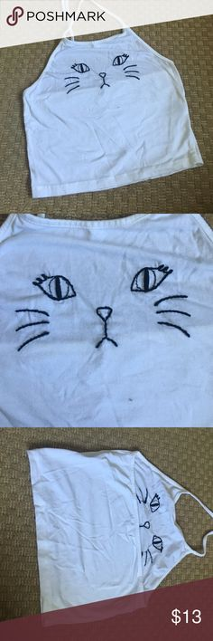 Kitty face crop top White crop top with embroidered kitten face. Halter ties Brandy Melville Tops Crop Tops