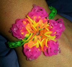 Hibiscus flower rainbow loom bracelet :)