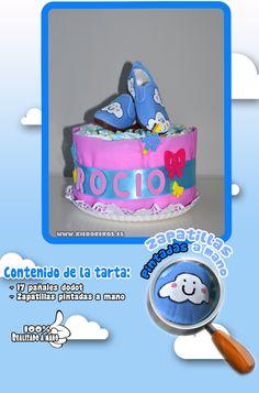 "Tarta de pañales ""niña"" , con zapatillas pintadas a mano.  www.kierokekos.es"