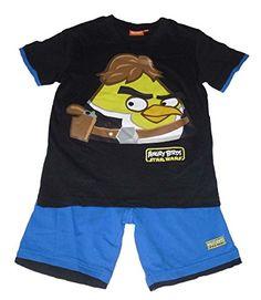 Boys Juego de camiseta de manga corta y pantalones cortos Conjunto 2Piezas oficial de Star Wars Angry Birds Negro #camiseta #friki #moda #regalo