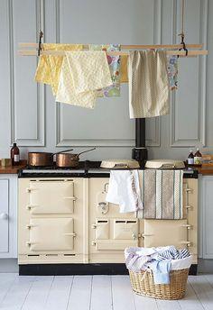 Aga w/laundry rack, piano, piano cuisson, cuisine Decor, Grey Kitchen Cabinets, Interior, Dream Decor, Aga Cooker, Vintage Kitchen, Kitchen Decor, Country Kitchen Decor, Aga Kitchen