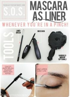 If you've run out of eyeliner, but have mascara, it can do double duty. | 44 Lazy Girl Beauty Hacks To Try Right Now