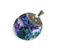 Abalone sterling pendant  Vintage big seashell by InVintageHeaven, $25.00